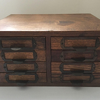 Antique Optical File Drawers Box Cabinet