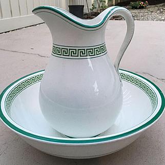 Victorian Minton Porcelain Pitcher and Bowl 1862 Mark