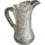 American Brilliant Period Cut Glass Victorian  Pitcher