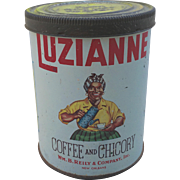 Antique Luzianne Tin Coffee Can 1920s