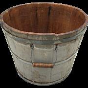 Large Antique Apple Bucket Wooden Basket Orchard