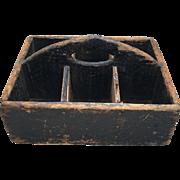Primitive Wooden Carrier Tote Old Black Paint