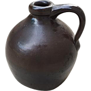 Small Ovoid Antique Redware Jug 1800s