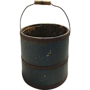 Antique Shaker Bucket Original Blue Paint