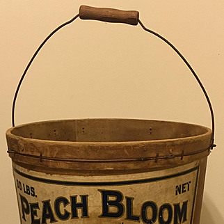 Early 1900s Advertising Bucket Peaches Chocolate Mayor Gorton Primitive