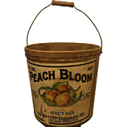 Early 1900s Advertising Bucket Peaches Chocolate Mayor Gorton Primitive