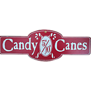 Vintage Metal Candy Canes Sign 1960s