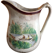 Rare Antique Pitcher Hand Painted Pottery Co Syracuse NY