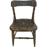 Antique Childs Chair Hand Painted Tole 19th Century