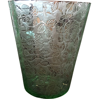 Beautiful Floral Green Depression Ice Bucket