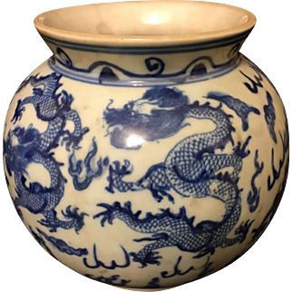 Antique Blue & White Chinese Dragon Oval Vase