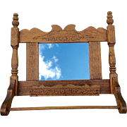 Victorian Towel Rack Mirror Comb Holder