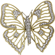 Vintage Open Work Butterfly 18K Gold and Platinum 4 Ct Diamond Brooch
