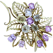 Vintage French 18K Gold Pastel Flower Brooch with Pink and Yellow Sapphires