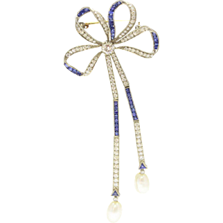 Vintage 18K Gold Bow Ribbon Diamond and Sapphire Brooch
