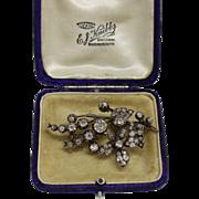 Victorian Era Flower Cherry Blossom Diamond Gold Brooch with Original Box