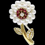 Vintage Akoya Pearl Ruby and Diamond Daisy Flower 18K Gold Brooch
