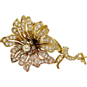 Victorian 18K Gold and 4 Carats Diamond Flower Brooch