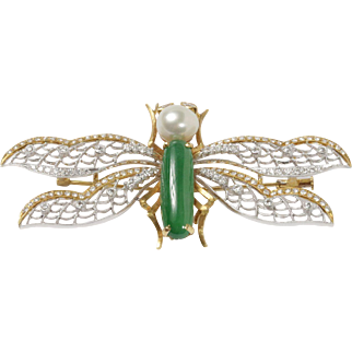 GIA Natural Jadeite Jade, Pearl, and Diamond 18K Gold Large Dragonfly Brooch Pendant