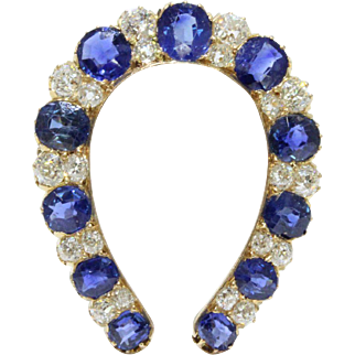 Victorian GIA Natural Unheated Sapphire and Diamond 18K Gold Horseshoe Brooch
