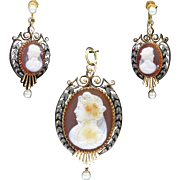 Antique Banded Agate Cameo Brooch Earring 18K and 14K Gold and Diamond Set
