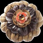 Large Vintage Carved Wood Coral and Amber 18K Gold Flower Brooch