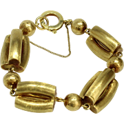 Vintage 18K Yellow Gold Chunky Heavy Three Dimensional Bracelet