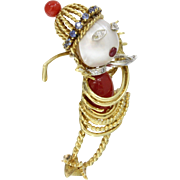 French Dessino Lady Golfer 18K Gold Coral Diamond Pearl and Sapphire Brooch