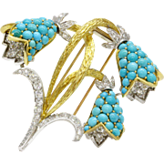 Large Vintage Turquoise Diamond Bell Flower Lily of the Valley 18K Gold Platinum Brooch