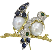 Vintage Lovebirds 14K Gold Diamond Sapphire Emerald Pearl Brooch