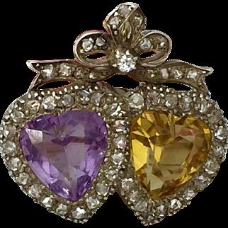 Victorian Double Heart Amethyst Citrine Rose Cut Diamond Bow Crown Brooch