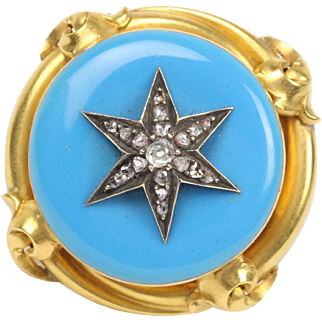 Victorian Turquoise Enamel and Diamond Star 22K Gold Memorial Brooch Set