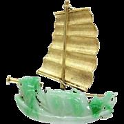 Vintage Carved Jadeite Jade and 14K Gold Ship Maritime Brooch