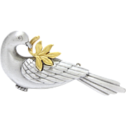 Sweet Vintage Two-Tone Dove with Olive Branch Peace Costume Brooch