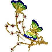 Vintage 18K Gold and Enamel Butterfly and Cherry Blossom Corletto Italian Brooch