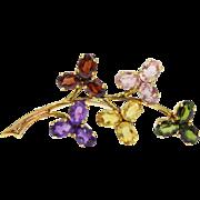 Vintage 18K Gold Multicolor Gemstone Floral Branch Brooch Amethyst, Tourmaline, Garnet, Citrine, Pink Topaz