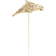 Vintage Horse Equestrian 14K Gold and Diamond Stick Lapel Pin