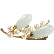Vintage Ming's White Jade and Pearl 14K Gold Abstract Floral Brooch