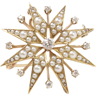 Victorian Diamond and Seed Pearl Starburst 14K Gold Brooch Pendant Fob