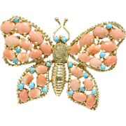 Charming Vintage Natural Coral and Turquoise Butterfly 14K Gold Brooch Pin