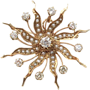 Antique Diamond and Seed Pearl Starburst 14K Gold Brooch Pendant Fob