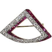 Vintage 1.5 Carats Old Diamond, Synthetic Ruby, 18K Gold and Platinum Triangle Brooch Pin