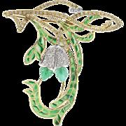 Art Nouveau Style Emerald Diamond and Plique a Jour Enamel 18K Gold Floral Pendant Brooch
