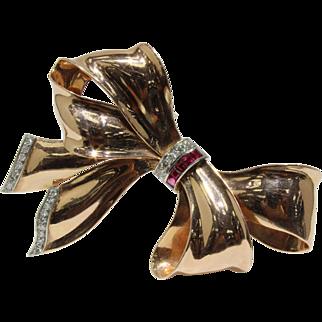Retro 14K Rose Gold Diamond and Ruby Large Bow Ribbon Brooch Pin