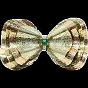 Retro Wavy Two-Tone Layered 14K Gold Emerald Diamond Bow Ribbon Brooch
