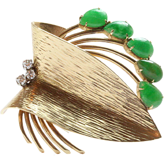 Vintage Abstract Jadeite Jade, Diamond and 14K Gold Heavy Brooch Clip