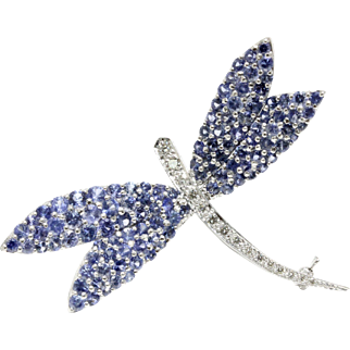Large Platinum and 18K Gold Dragonfly Brooch Pendant with Natural Sapphires and Diamonds