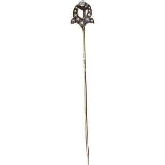 Unusual Victorian Seed Pearl and Diamond 14K Gold Stick Pin