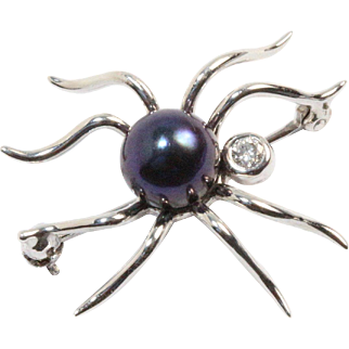 Iridescent Black Pearl and Diamond 18K White Gold Spider Bug Pin Brooch