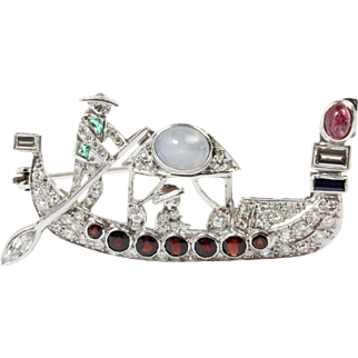 Unusual Art Deco Platinum, Diamond, Ruby, Sapphire, and Emerald Boatman Gondola Brooch Pin